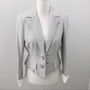 W by Worth Gray and white striped cropped blazer